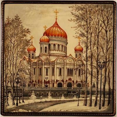 """Лаковая миниатюра """"Храм Христа-Спасителя"""""""