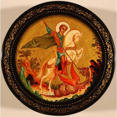 Лаковая миниатюра Чудо Георгия о змее (Георгий Победоносец)