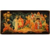 """Лаковая миниатюра """"Встреча князя Гвидона и прекрасной царевны лебеди"""""""