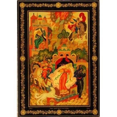 """Лаковая миниатюра """"Сказка о мертвой царевне и о семи богатырях"""""""