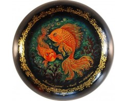 """Лаковая миниатюра """"Золотые рыбки"""""""