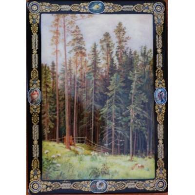 """Лаковая миниатюра """"Лес с горы"""""""