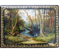 """Лаковая миниатюра """"Лесной пейзаж с цаплями"""""""