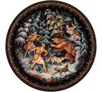 Лаковая миниатюра тарелка На медведя